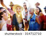 teenagers friends beach party... | Shutterstock . vector #314712710