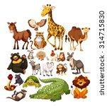 Stock vector different type of wild animals illustration 314715830
