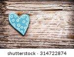 Blue Green Heart On Wooden...