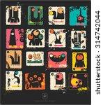 set of retro postage s stamp... | Shutterstock .eps vector #314742044
