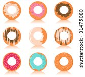 Vector set of colorful donuts with different design - stock vector