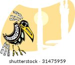 raven sits by totem poles...   Shutterstock .eps vector #31475959
