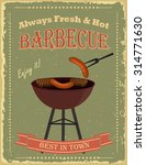 vintage bbq poster design with... | Shutterstock .eps vector #314771630