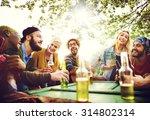 diverse people friends hanging... | Shutterstock . vector #314802314