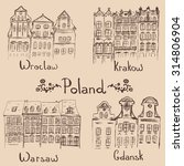 four hand drawn polish cities ... | Shutterstock .eps vector #314806904