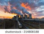 Lignite Power Plant Ot Sunset...