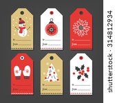 set of christmas gift tags with ... | Shutterstock .eps vector #314812934