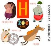 cute zoo alphabet in vector.h... | Shutterstock .eps vector #314822006