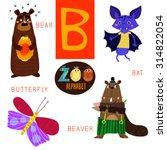 Cute Zoo Alphabet In Vector.b...