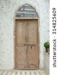 Old Door With Old Cement Wall