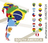 Постер, плакат: South America map with