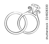 wedding rings symbol vector... | Shutterstock .eps vector #314828330