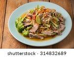 pork and vegetable spicy salad... | Shutterstock . vector #314832689