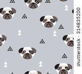 seamless kids pug dogs... | Shutterstock .eps vector #314835200