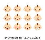 set of cute baby emoticons.... | Shutterstock .eps vector #314836316