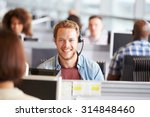 young man working in a call... | Shutterstock . vector #314848460