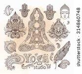 yoga  meditation vector... | Shutterstock .eps vector #314860748