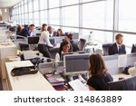 coworkers at their desks in a... | Shutterstock . vector #314863889
