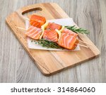 fresh raw salmon skewer with... | Shutterstock . vector #314864060
