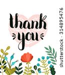thank you card. vector hand... | Shutterstock .eps vector #314895476