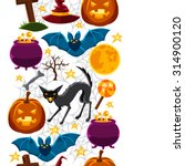 happy halloween seamless... | Shutterstock .eps vector #314900120