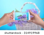 girl holding the phone and... | Shutterstock . vector #314919968