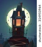 happy halloween card ... | Shutterstock .eps vector #314953964