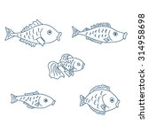 a set of five cute fish. vector ... | Shutterstock .eps vector #314958698