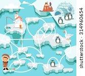 Cute Cartoon North Pole Maze...