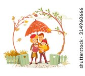 cute cartoon family in autumn... | Shutterstock .eps vector #314960666