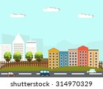 colorful city with skyscrapers...   Shutterstock .eps vector #314970329