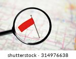 locator pin flag in a map with... | Shutterstock . vector #314976638