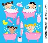 bath time for baby girls | Shutterstock .eps vector #315013394