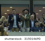 Small photo of New York, NY - September 9, 2015: Jimmy Fallon & Justin Timberlake attend quarterfinal match between Roger Federer of Switzerland & Richard Gasquet of France at US Open Championship