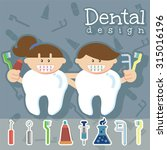 cute flat characters dentists... | Shutterstock .eps vector #315016196