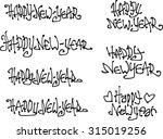happy new year wish hand drawn... | Shutterstock .eps vector #315019256