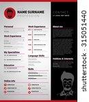 resume template  minimalist cv  ...   Shutterstock .eps vector #315051440