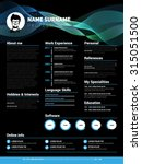 resume template  minimalist cv  ... | Shutterstock .eps vector #315051500