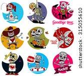 nine characters skeletons in... | Shutterstock . vector #315055610