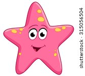 spotted pink starfish is smiling | Shutterstock .eps vector #315056504