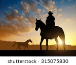 Silhouette Cowboy With Horse I...