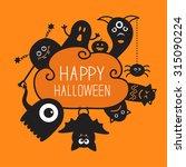 happy halloween contour doodle. ... | Shutterstock .eps vector #315090224