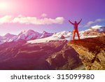 hiker at the top of a pass with ... | Shutterstock . vector #315099980