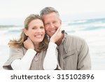 happy couple standing together... | Shutterstock . vector #315102896
