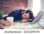 tired creative editor holding... | Shutterstock . vector #315109574