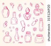vector glass flasks. perfume... | Shutterstock .eps vector #315126920