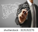 logistics concept  man drawing... | Shutterstock . vector #315152270