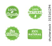 "set of four eco labels  ""100 ... 