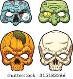 Halloween Masks. Vector Clip...