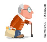 elderly man in brown sweater ... | Shutterstock .eps vector #315183788